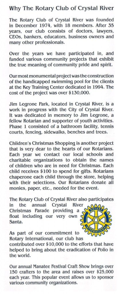 Crystal River Rotary Brochure